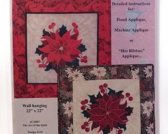 "The Art of the Quilt ""Pat's Poinsettia"" quilt applique pattern"
