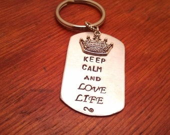 "Hand stamped dog tag key chain ""Keep Calm and Love Life"" or ""Keep Calm and Chive On""-Keep calm keychain-Love life-inspirational gift"
