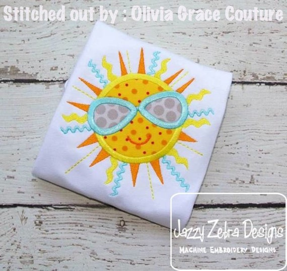 Boy Summer Sun with Sunglasses Applique Embroidery Design - summer appliqué design - sun appliqué design - boy appliqué design - beach