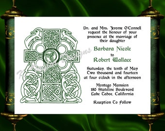 Cross Invitation & RSVP   -  Celtic Cross Wedding Invitation - Irish Celtic Medieval Wedding Invitation - Irish Wedding- Christy