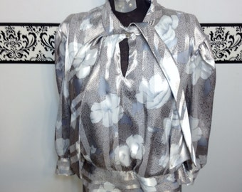1970's Silver and Grey Secretary Blouse by Frejani, 1960's / 1970's Hipster , Rockabillly Size 12
