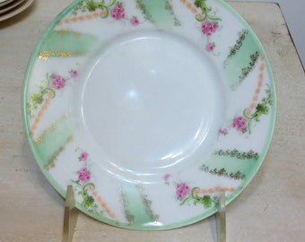 Vintage Hand Painted Tea Cup Plate from Prussia Royal Rudolstadt, Gold, Pink,, and Mint Green, Vintage Display Plates, Shabby Chic Teaplate