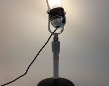 Upcycled Retro Microphone Desktop Lamp.  Tabletop Lamp.  Vintage Microphone. Fluorescent Lamp. Industrial Lighting *Free Shipping*LIKE* us!