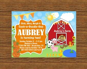 CUSTOM Printable Invitation - Farm/Barn Yard Birthday Invitation