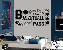 Basketball Decal B12 Sports Vinyl Wall Decal Basketball Boys Room Teen Boy Room Decor Wall Art Basketball Decor Basketball Wall Decal