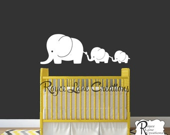 3 Elephant Family- Elephant Nursery Decal