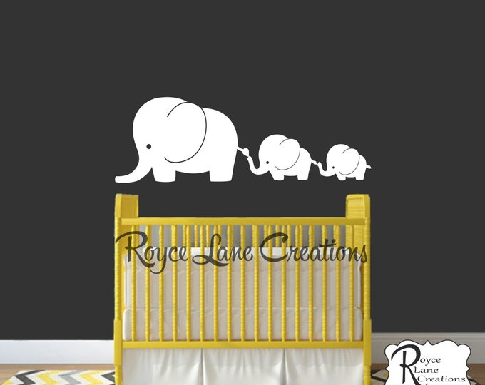 3 Elephant Family- Elephant Nursery Decal