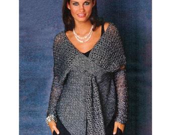 Crochet party tunic PATTERN, crochet designer tunic pattern, crochet wrap pattern, description in ENGLISH, crochet high cuffs (not mittens!)