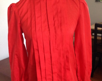 Vintage 1950's Joan Mad Men Power Red Rockabilly Blouse