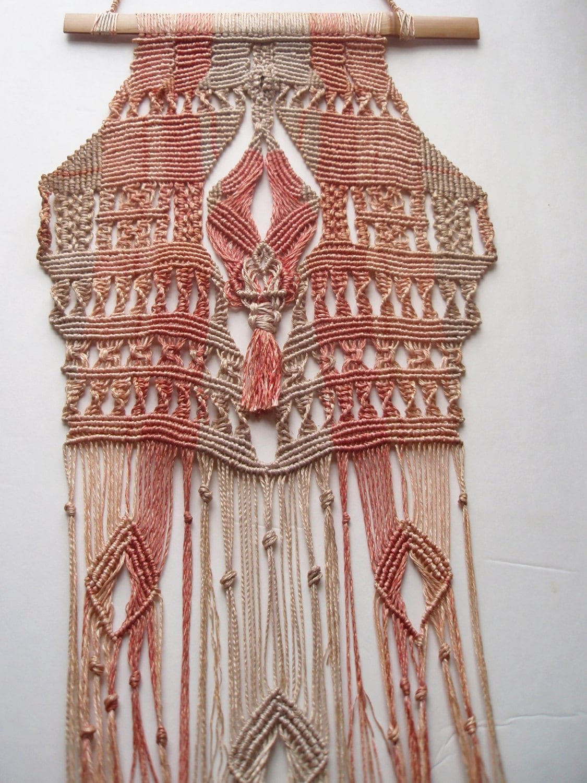 Stunning 70s Micro Macrame Wall Hanging Hand Made Intricate