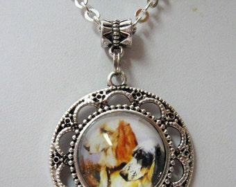 English setter pendant with chain - DAP05-061