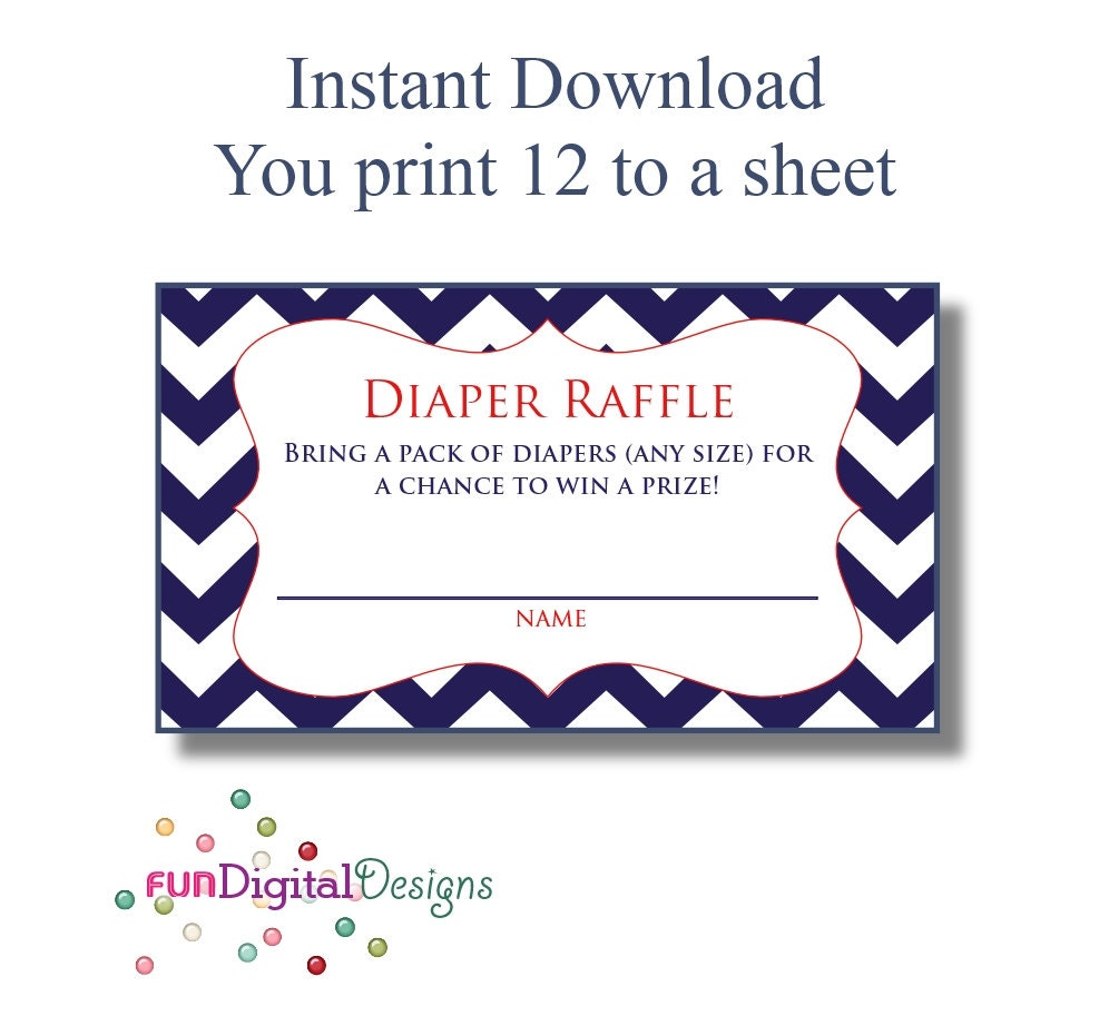 Diaper Raffle Tickets printable digital file DIY for your