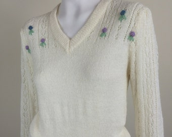 crewel embroidered cream openwork knit sweater 70s