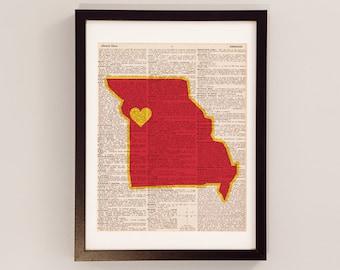 Kansas City Chiefs Dictionary Art Print - Kansas City Art - Print on Vintage Dictionary Paper - Hail to the Chiefs - KC Chiefs Print