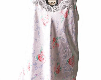 Vintage Sweet White  and Light Pink Floral and Lace Nightie
