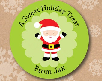 Personalized Childrens Christmas Labels, Santa Stickers for Goodie Bags, Classroom Gift Tags, Christmas Label Stickers, Customized Holiday