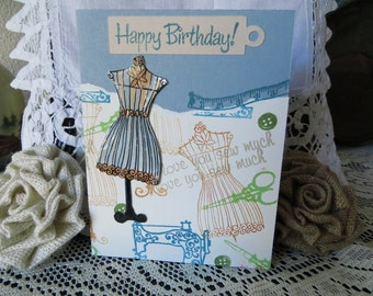"Set of 8 sewing themed all occasion cards, with dress forms, vintage sewing machines, buttons, scissors, 4-1/4""x5-1/2"" w/envelopes."