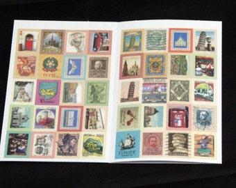 Italy Postcard Postage Stamp Sticker Set