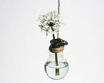 Glass Bulb Flower Display – Upcycled – Natural – Eco