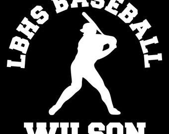 Baseball Player Decal Personalized Baseball Team, Player Name Vinyl Decal for Car Window, Locker, Laptop, and More!