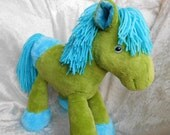 BLUE GREEN HORSE decor, stuffed Horse turquoise green, blue green algae Horse, Green smoothie plush horse, stuffed animal pony handmade ooak