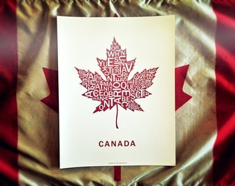 Far Sky Typographic Canadian Maple Leaf