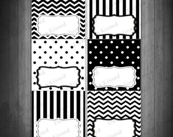 Black White Birthday Baby Shower Digital Printable Food Label Buffet Name Tags Tent Cards DIY