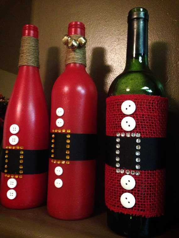 Items similar to santa clause wine bottle for holiday for Christmas bottle decorations