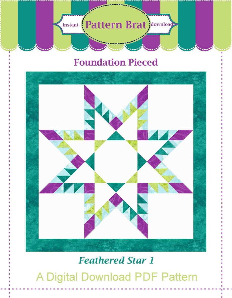 8 Inch Quilt Blocks Free Patterns : FEATHERED STAR Quilt Block Pattern Instant Download Paper