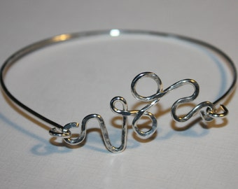 Sterling Silver Bangle Bracelet, with Sterling Silver Scroll  Charm.