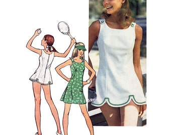 Simplicity 5572 Sewing Pattern Young Junior/Teens and Misses Tennis Dress in 2 Lengths, Panties and Visor   Sizes 13-14