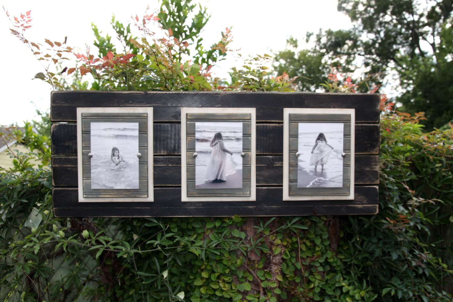 wood plank frame wooden plank frame plank wall art distressed triple 5x7 or 4x6 photos black ivory and grey