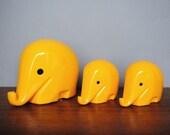 1960s Retro Design DRUMBO Size S + M * Elephant Savings Box * M with key * Sunny Yellow * Commerzbank * Luigi Colani * Retro