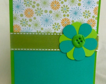 Green and Blue Flower with Felt Button and Ribbon Blank Greeting Card