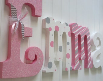 Hanging nursery letters nursery letters baby girl for Baby name letters decoration