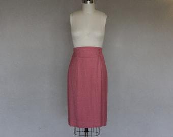 Red Halston High Waisted Pencil Skirt