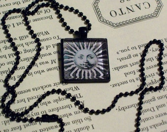 Vintage Sun Face Necklace - Black Pendant Setting and Ball Chain - 25mm Square Glass Cabochon