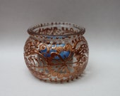 Glass Tealight Candle Holder- Handpainted Copper Henna Design