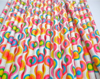 Multicolored Circles - Paper Straws (Pack of 25 or 50) *Weddings, Parties, Showers, Gifts* Colorful, Circus/Carnival Theme Party