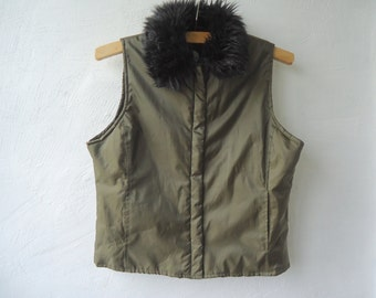 Womens  Waistcoat Winter Puffy  Puffer Khaki Faux Fur Trimmed Warm Vest  Sleeveless  Jacket Medium Size