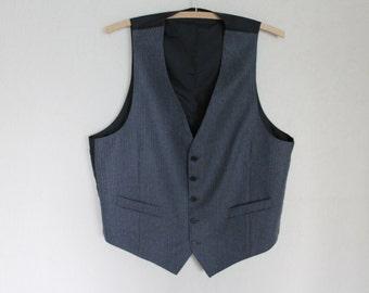 Grey Striped Gentlemen's Vest  Mens  Waistcoat  Formal Gray Fitted  Edwardian Victorian Renaissance Steampunk Baroque