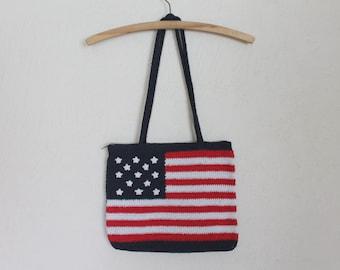USA American Flag Crocheted Shoulder Bag Bohemian Hippie Festival   Purse Blue Red White Lining Stars and Stripes Patriotic Handbag