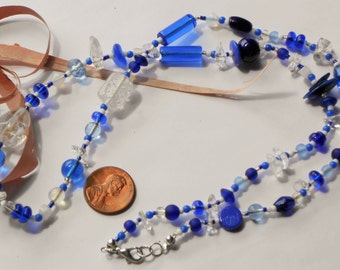 Handcrafted Long Funky Necklace / Shades Of Navy Cobalt Blue Beaded Necklace #2 OOAK