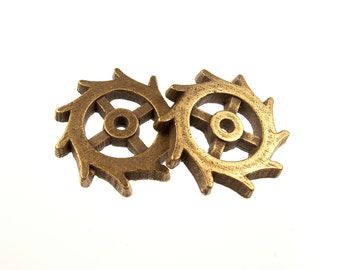 Gear Charm, Steampunk Gears in Antique Brass, Other finishes available, QTY: 5 Gears