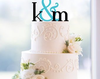 Monogram Wedding Cake Topper – Custom Two Initials and Ampersand Topper Available in 15 Colors, 12 Fonts and 6 Glitter Options- (T053)