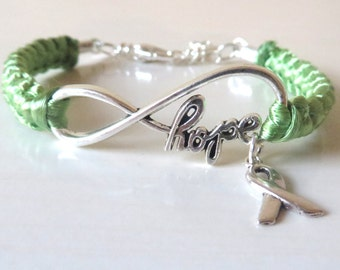 Lime Green HOPE Lymphoma Awareness Ribbon Charm Bracelet With Optional Hand Stamped Alphabet Initial Charm
