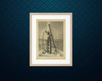 James Lick telescope - Great Observatories - Science art astronomy poster - recovered image from vintage book