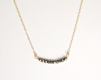 14K Gold-filled Pyrite Necklace | Dainty | Limited | Modern | Perfect for Gift Giving | Jewelry