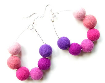 Felted earrings felt earrings pink violet purple felt wool spring earrings bals felted