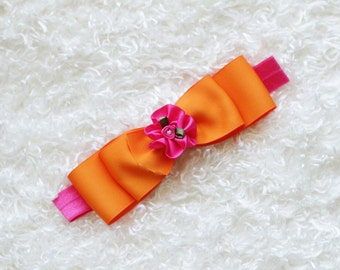 hot pink and orange baby girl headband, baby hair bow,elastic headband, baby head band, hair bow, hairbow